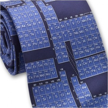 Josh Bach Mens Periodic Table / Science Silk Necktie Blue, Made in USA