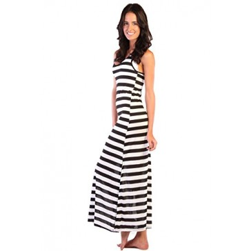 Ingear Long Stripe Racer Back Maxi Tank Dress (Small, Black/White)