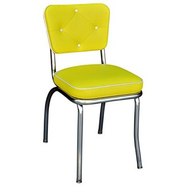"Budget Bar Stools 4240YEL Diamond Back Diner Chair, Steel, 15.25"" L x 15.25"" W x 31"" H, Yellow and White"