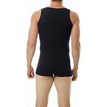 Underworks Mens Ultra Light Cotton Spandex Compression Tank, Small, Black