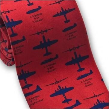 Josh Bach Men's WWII Bomber Planes Silk Necktie Red, Made in USA
