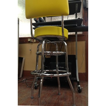 """Budget Bar Stools 1958YEL Double Ring Commercial Bar Stool with Back, 20"""" L x 17"""" W x 41"""" H, Yellow"""