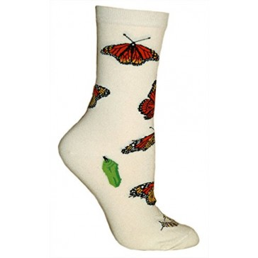 Monarch Butterflies Cream Ultra Lightweight Cotton Crew Socks - Made in USA