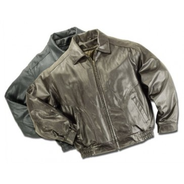 Reed Men's Made in USA Bomber Leather Jacket, Large Black