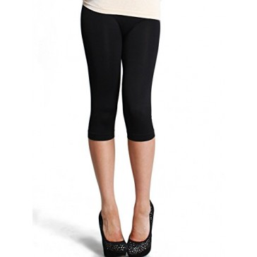 Nikibiki Seamless Sports Yoga Capri Leggings Pants (One Size, Black)
