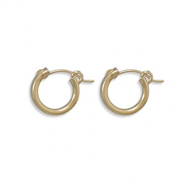 2x12mm Small Hoop Earrings 12k Yellow Gold-filled Click Close - Made in the USA