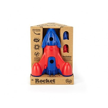Green Toys Rocket with 2 Astronauts Toy Vehicle Playset, Blue/Red