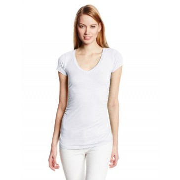 VELVET BY GRAHAM & SPENCER Women's V Neck Short Sleeve Fitted Tee, White, Medium