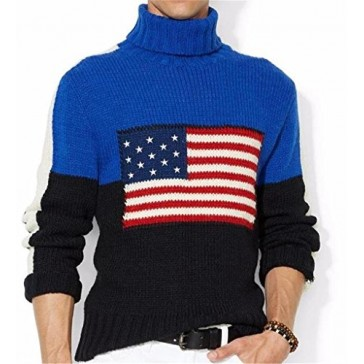 New Mens Polo Ralph Lauren Classic Flag Turtleneck Sweater (Large)