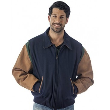 Reed Men's Premium Quality Leather Letterman Varsity Jacket Made in USA (LARGE, NAVY)