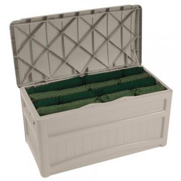 Premium Deck Box Patio Suncast Pool Storage Waterproof Bench 73 Gallon Large Outdoor Design