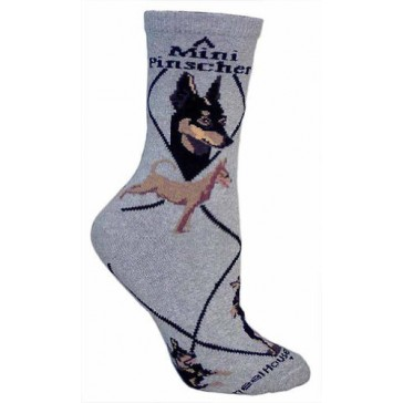 Mini Pinscher on Gray Ultra Lightweight Cotton Crew Socks (One Size Fits Most) Made in USA