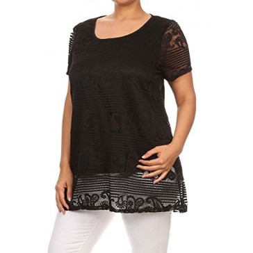WOMEN'S PLUS SIZE Short Sleeve Lace Tunic Top MADE IN USA (1X-Large, Black)