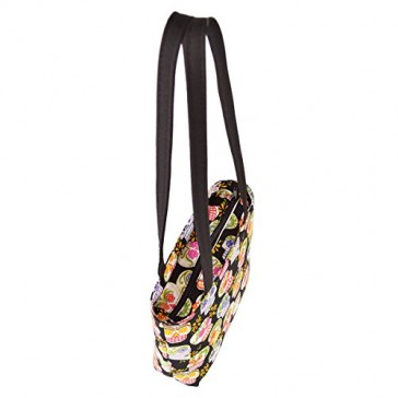 Premium Floral Skulls Print Small Tote Bag Handbag - 100% Hand Made in the USA