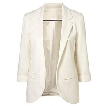 Open Front Blazer-Women Lapel Collar Roll-up Sleeve Business Suit Jacket Coat (XS, 03321white)