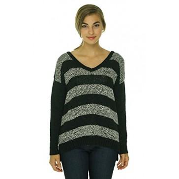 Kensie Women's V-Neck Long Sleeve Striped Sweater Black Combo XS