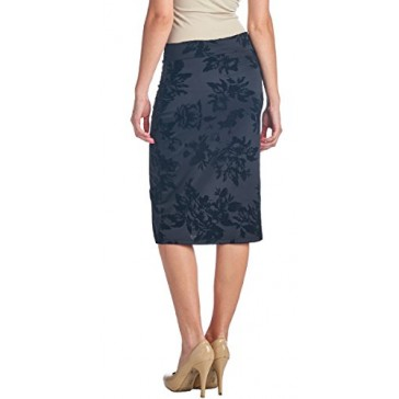 Popana Womens Stretch Pencil Skirt Knee Length for Work or Office - Shaping Bodycon Midi Skirt - Made In USA Small Black