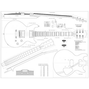 Set of 4 Gibson Electric Guitar Plans - CS-356, Les Paul, Les Paul Double cutaway, and Firebird Studio - Full Scale - Actual Size- Making Guitar or Framing BUY ONLY FROM SPIRIT FLUTES -