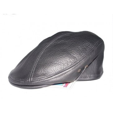 SIENA COWHIDE LEATHER FINE IVY DRIVER CAP MADE IN USA VARIOUS COLORS (S/M (6-7/8 - 7-1/8), BLACK)