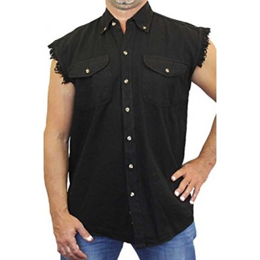Men's Sleeveless Denim Shirt American Dream Made in the USA Biker: BLACK (Medium)