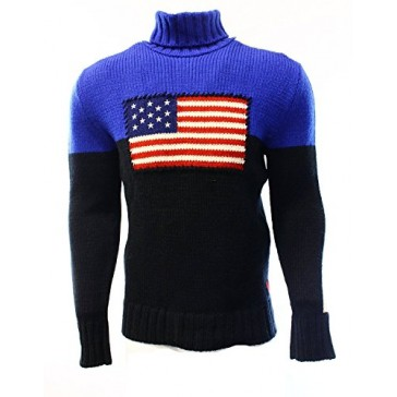 Polo Ralph Lauren Classic Flag Turtleneck Sweater (X-Large) Blue/Black