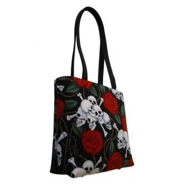 Roses and Skulls & Bones Small Tote Bag Handbag - 100% Hand Made in USA