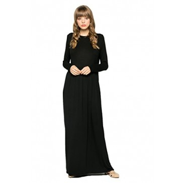 My Space Clothing Women's Babydoll Soft Knit Jersey Maxi Dress-Made in USA (Small, Black)