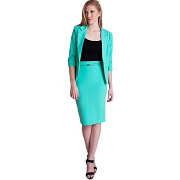 Ladies Mint One Button Cuffed Blazer & Pencil Skirt With Belt Set