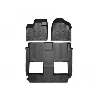 2011-2015 Chrysler Town & Country-Weathertech Floor Liners-Full Set (Includes 1st and 2nd Row)-Fits Models with 1 Retention Hook on the Driver Side Floor; Fits Vehicles with 2nd Row Bucket Seating. With Stow'n Go-Black