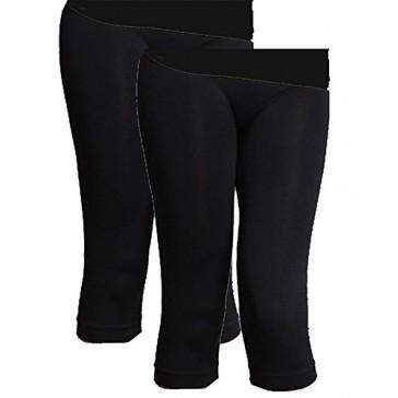 Niki Biki Women's 3/4 Smoothing Slimming Crop Leggings (One Size, 2 Pack: Black/Black)