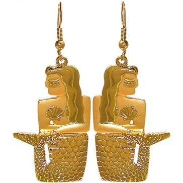 Vintage Egyptian Mermaid Earrings, 2 Tone, Signed Jj, Quality Made in USA!, in Gold Tone