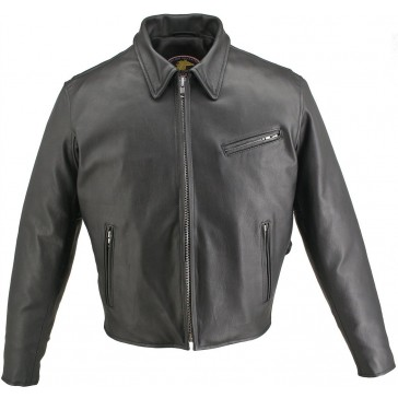 Made in USA Men's Horsehide Leather Motorcycle Jacket Snap Down Collar (38, Black)