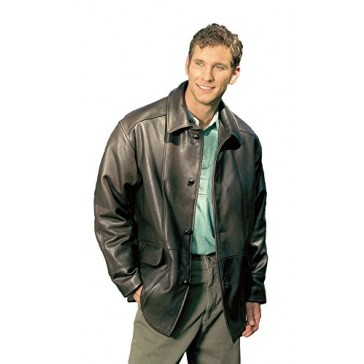 Reed Men's Premium Four Button Car Coat Leather Jacket Made in USA (42, Black)