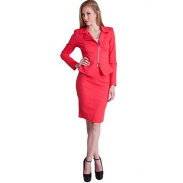 Woman Coral Side Zipper Back Slit Blazer Pencil Skirt Set