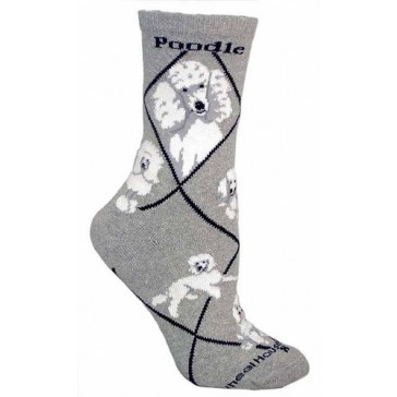 White Poodle Gray Ultra Lightweight Cotton Crew Socks (One Size Fits Most) Made in USA