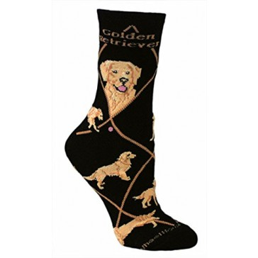 Golden Retriever on Black Ultra Lightweight Cotton Crew Socks - Made in USA