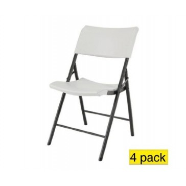 Lifetime 80190 Light Commercial Contemporary Folding Chair, 18.5W x 34H x 20D, 350lbs Capacity, 4-Pack, Almond