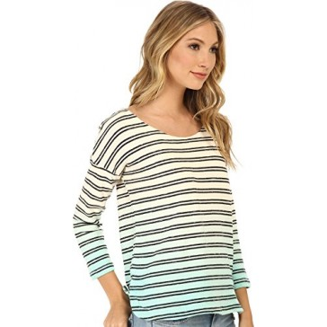 Splendid Women's Stripe Dip Dye Active Pullover Black/Surf Spray T-Shirt XS (Women's 0-2)