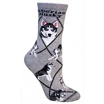 Siberian Husky on Gray Ultra Lightweight Cotton Crew Socks - Made in USA