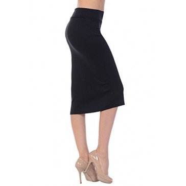 Jubilee Couture Women's Ponte Roma Midi Pencil Skirt (Small, Black)