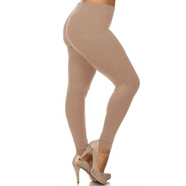 World of Leggings Made in the Usa PLUS SIZE Full Length Cotton Leggings Beige XL