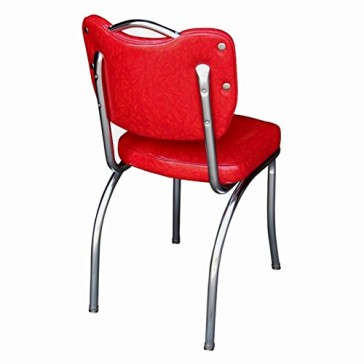 """Richardson Seating 4260CIR Handle Back Retro Kitchen Chair in Single Tone Channel Back with 2"""" Box Seat, NULL, Cracked Ice Red"""