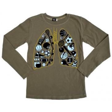 Hank Player 'Breathe Sports' Long Sleeve Boy's T-Shirt (4T, Vintage Army)
