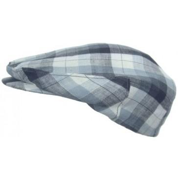 Headchange Made in USA 100% Linen Ivy Scally Summer Golf Hat Flat Cap (MEDIUM = 7 - 7 1/8, Blue Plaid)