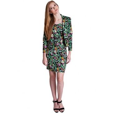 Ladies Green Floral Print 2 Button Blazer Dress Suit Set