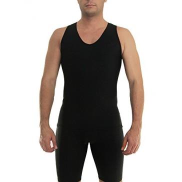 Underworks Mens Extreme Gynecomastia Chest Binder V-Tank Top 3-Pack Large Black