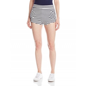 Lucy Love Junior's April In Paris Stripe Brief Short, Navy/White, X-Small