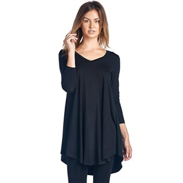 Popana Women's Tunic Tops For Leggings - Long Sleeve Vneck Shirt - Regular and Plus Size - Made in USA Small Black
