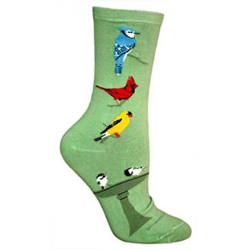 Songbirds Mint Green Ultra Lightweight Cotton Crew Socks - Made in USA
