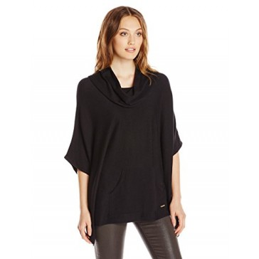 Calvin Klein Women's Poncho with Pocket, Black, Small/Medium